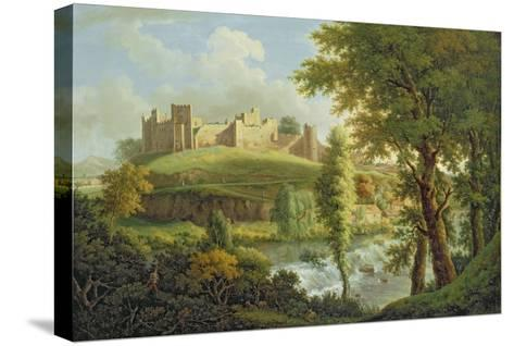 Ludlow Castle with Dinham Weir, from the South-West, c.1765-69-Samuel Scott-Stretched Canvas Print