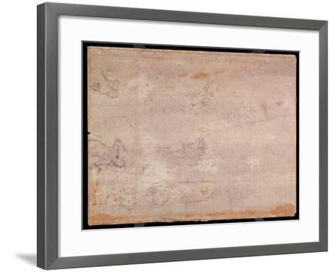 Study of Figures (Black Chalk on Paper) (Recto) (For Verso See 191778)-Michelangelo Buonarroti-Framed Art Print