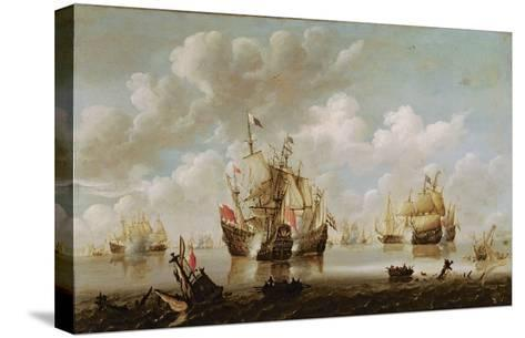 Naval Battle-Willem Van De, The Younger Velde-Stretched Canvas Print