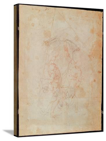 Study of Two Male Figures (Red Chalk on Paper) (Verso)-Michelangelo Buonarroti-Stretched Canvas Print