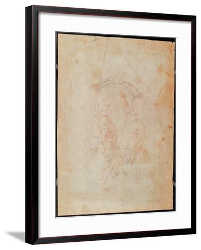 Study of Two Male Figures (Red Chalk on Paper) (Verso)-Michelangelo Buonarroti-Framed Art Print