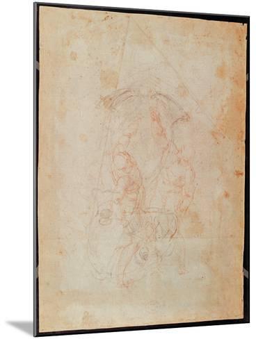 Study of Two Male Figures (Red Chalk on Paper) (Verso)-Michelangelo Buonarroti-Mounted Giclee Print
