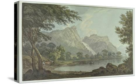 Lodore Rocks - Fall and Cottage Distance (Pen and Ink with W/C over Graphite on Wove Paper)-Joseph Farington-Stretched Canvas Print