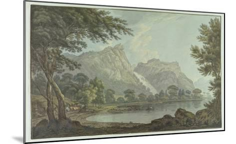 Lodore Rocks - Fall and Cottage Distance (Pen and Ink with W/C over Graphite on Wove Paper)-Joseph Farington-Mounted Giclee Print