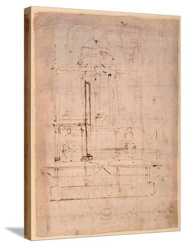 Design for the Tomb of Pope Julius Ii (1453-1513) (Brown Ink on Paper) (Verso)-Michelangelo Buonarroti-Stretched Canvas Print