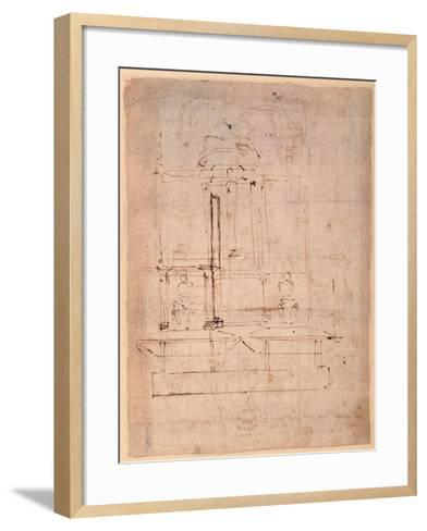 Design for the Tomb of Pope Julius Ii (1453-1513) (Brown Ink on Paper) (Verso)-Michelangelo Buonarroti-Framed Art Print