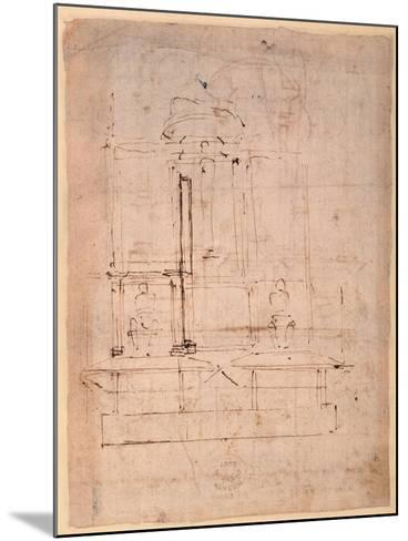 Design for the Tomb of Pope Julius Ii (1453-1513) (Brown Ink on Paper) (Verso)-Michelangelo Buonarroti-Mounted Giclee Print