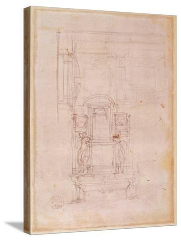 Preparatory Drawing for the Tomb of Pope Julius Ii (1453-1513) (Charcoal on Paper) (Verso)-Michelangelo Buonarroti-Stretched Canvas Print