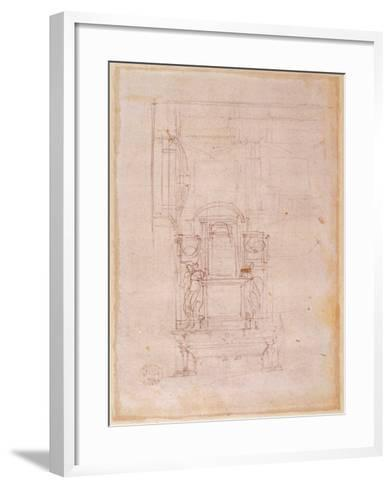 Preparatory Drawing for the Tomb of Pope Julius Ii (1453-1513) (Charcoal on Paper) (Verso)-Michelangelo Buonarroti-Framed Art Print