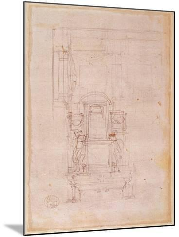 Preparatory Drawing for the Tomb of Pope Julius Ii (1453-1513) (Charcoal on Paper) (Verso)-Michelangelo Buonarroti-Mounted Giclee Print