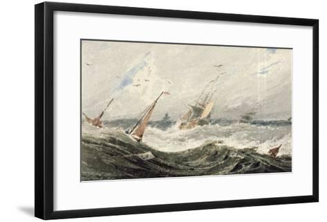 Boats on a Stormy Sea (W/C over Graphite on Wove Paper)-Francois Louis Thomas Francia-Framed Art Print
