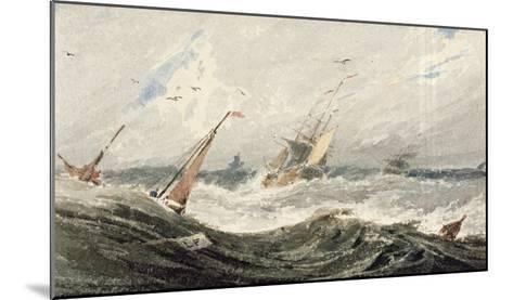 Boats on a Stormy Sea (W/C over Graphite on Wove Paper)-Francois Louis Thomas Francia-Mounted Giclee Print