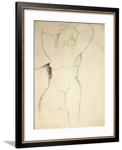 Caryatid, C.1913-14 (Pen and Ink on Paper)-Amedeo Modigliani-Framed Art Print