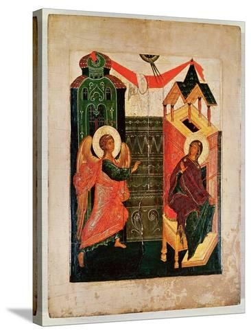 Icon Depicting the Annunciation, Novgorod School (Oil on Panel)-Russian-Stretched Canvas Print
