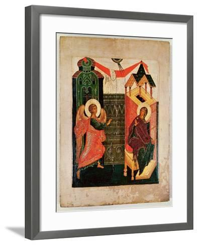 Icon Depicting the Annunciation, Novgorod School (Oil on Panel)-Russian-Framed Art Print