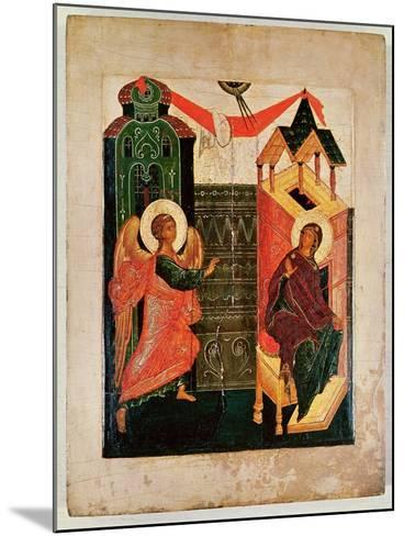 Icon Depicting the Annunciation, Novgorod School (Oil on Panel)-Russian-Mounted Giclee Print