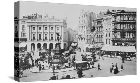 View of Piccadilly Circus, C. 1900 (B/W Photo)-English Photographer-Stretched Canvas Print