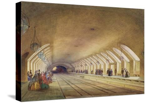 Baker Street Station, 1863 (W/C and Bodycolour with Pen and Ink on Paper)-Samuel John Hodson-Stretched Canvas Print