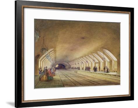 Baker Street Station, 1863 (W/C and Bodycolour with Pen and Ink on Paper)-Samuel John Hodson-Framed Art Print