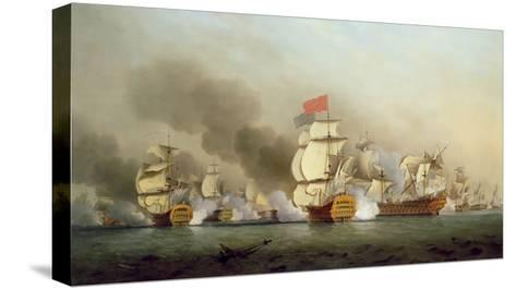 Vice Admiral Sir George Anson's (1697-1762) Victory Off Cape Finisterre, 1749-Samuel Scott-Stretched Canvas Print