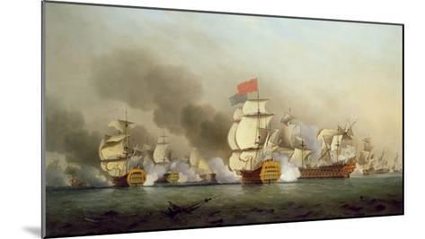 Vice Admiral Sir George Anson's (1697-1762) Victory Off Cape Finisterre, 1749-Samuel Scott-Mounted Giclee Print
