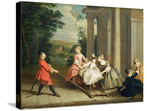 Children Playing with a Hobby Horse, c.1741-47-Joseph Francis Nollekens-Stretched Canvas Print