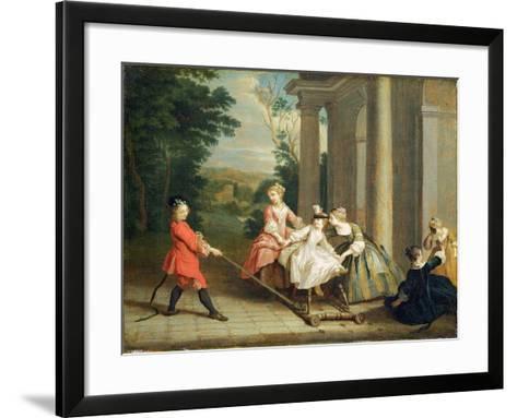 Children Playing with a Hobby Horse, c.1741-47-Joseph Francis Nollekens-Framed Art Print