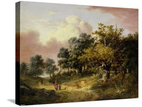 Wooded Landscape with Woman and Child Walking Down a Road (Oil on Panel)-Robert Ladbrooke-Stretched Canvas Print