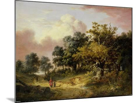 Wooded Landscape with Woman and Child Walking Down a Road (Oil on Panel)-Robert Ladbrooke-Mounted Giclee Print