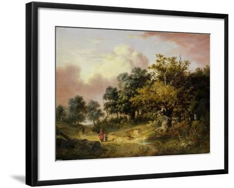 Wooded Landscape with Woman and Child Walking Down a Road (Oil on Panel)-Robert Ladbrooke-Framed Art Print
