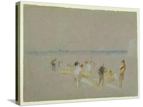 Cricket on the Goodwin Sands (Chalk, W/C and Bodycolour on Paper)-J^ M^ W^ Turner-Stretched Canvas Print