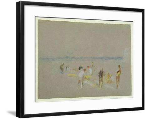 Cricket on the Goodwin Sands (Chalk, W/C and Bodycolour on Paper)-J^ M^ W^ Turner-Framed Art Print