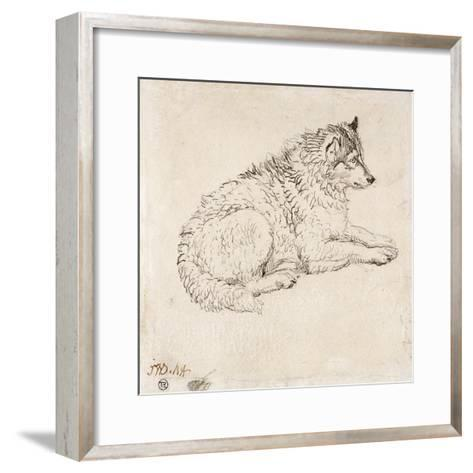 Arctic Dog, Facing Right (Pencil on Paper)-James Ward-Framed Art Print