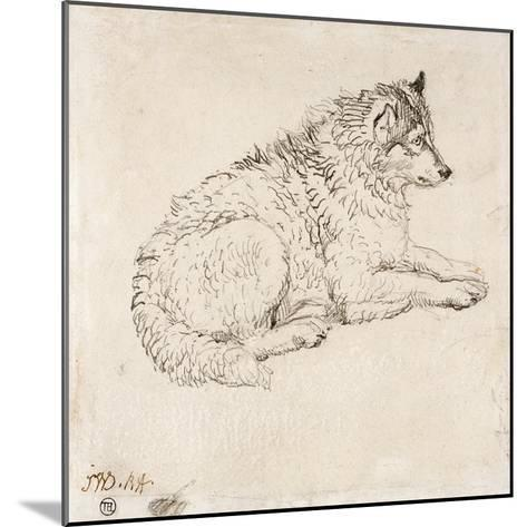 Arctic Dog, Facing Right (Pencil on Paper)-James Ward-Mounted Giclee Print