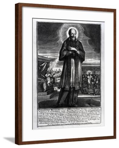 Saint Francois De Sales (1568-1622) (Engraving) (B/W Photo)-French-Framed Art Print