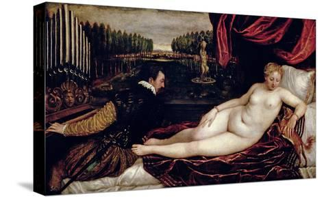 Venus and the Organist, c.1540-50-Titian (Tiziano Vecelli)-Stretched Canvas Print