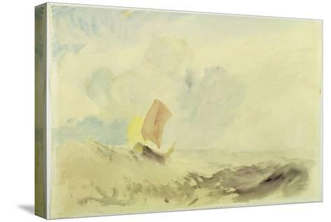 A Sea Piece - a Rough Sea with a Fishing Boat, 1820-30 (W/C on Paper)-J^ M^ W^ Turner-Stretched Canvas Print