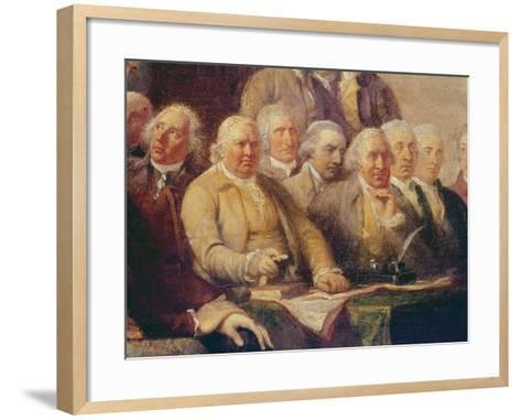 Drafting the Declaration of Independence, 28th June 1776, c.1817 (Detail)-John Trumbull-Framed Art Print