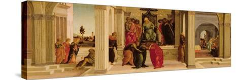 Scenes from the Story of Esther (Oil on Panel)-Filippino Lippi-Stretched Canvas Print