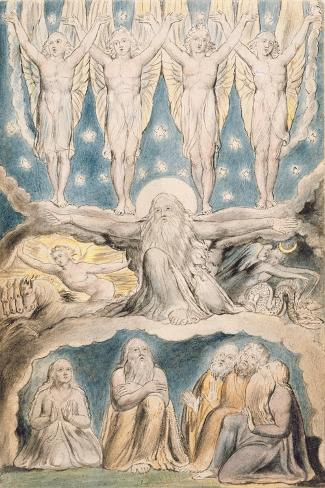 The Creation, Page 14 from 'Illustrations of the Book of Job' after William Blake (1757-1827)-John Linnell-Stretched Canvas Print