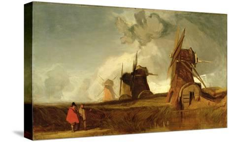 Drainage Mills in the Fens, Croyland, Lincolnshire, c.1830-40-John Sell Cotman-Stretched Canvas Print