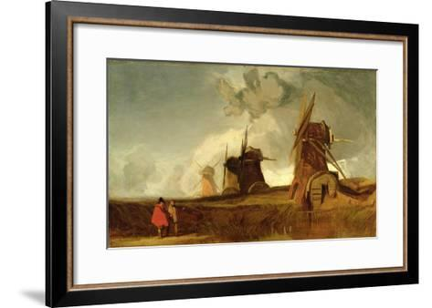 Drainage Mills in the Fens, Croyland, Lincolnshire, c.1830-40-John Sell Cotman-Framed Art Print