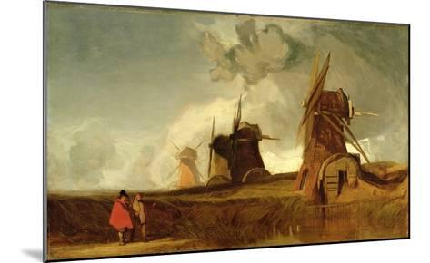 Drainage Mills in the Fens, Croyland, Lincolnshire, c.1830-40-John Sell Cotman-Mounted Giclee Print