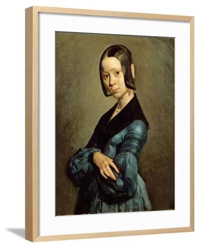 Pauline Ono (1821-44) in Blue, 1841-42-Jean-Fran?ois Millet-Framed Art Print