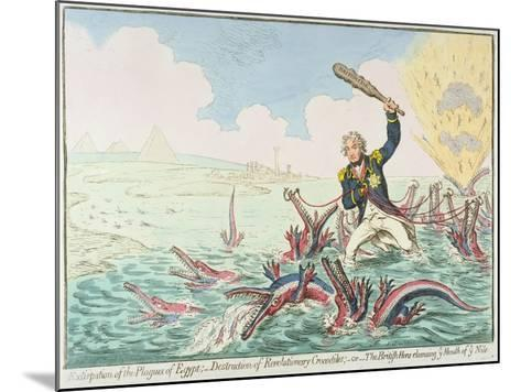 Extirpation of the Plagues of Egypt:- Destruction of Revolutionary Crocodiles, 1798-James Gillray-Mounted Giclee Print