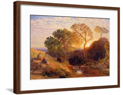 Sunset, C.1861 (W/C, Graphite, B/C and Gum on Card)-Samuel Palmer-Framed Art Print