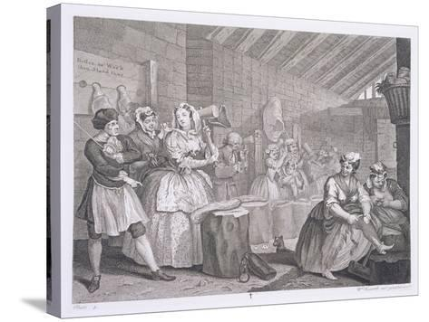 A Harlot's Progress, Plate IV, from 'The Original and Genuine Works of William Hogarth'-William Hogarth-Stretched Canvas Print