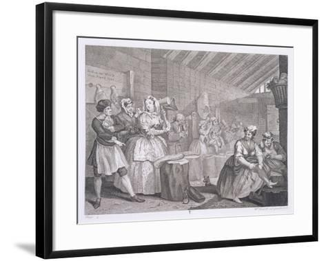 A Harlot's Progress, Plate IV, from 'The Original and Genuine Works of William Hogarth'-William Hogarth-Framed Art Print