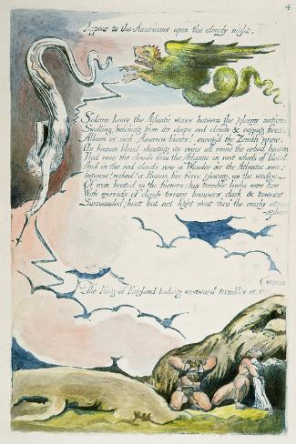 Appear to the Americans...', Plate 6 from 'America: a Prophecy', 1793-William Blake-Stretched Canvas Print