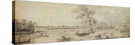 Old Walton Bridge Seen from the Middlesex Shore, 1755 (Pen and Ink with Wash on Paper)-Canaletto-Stretched Canvas Print
